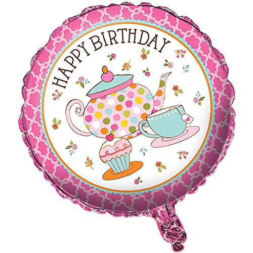 "Tea Time Party 18"" Happy Birthday Foil Balloon (1 ct) by Creative Converting"