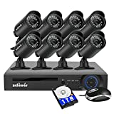 Zclever 8Ch 1080N AHD Night Vision Weatherproof CCTV Security Camera System Surveillance DVR Kits with HDD