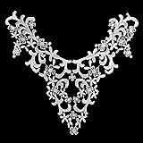 "Altotux 10"" x 10"" inches White Venice Embroidery Bodice Motif Applique by Piece"