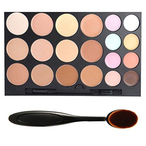 DE'LANCI Professional 20 Colors Face Cream Concealer Camouflage Foundation Contour Makeup Palette Kit Set with Premium Oval Make Up Brush (20 colors) Review