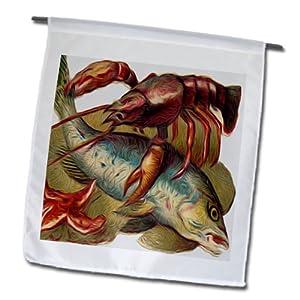 Dooni Designs Vintage Designs - Vintage Nautical Illustration Fish Lobster And Starfish Marine Life - 12 x 18 inch Garden Flag (fl_104652_1)