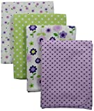 Carters 4 Piece Flannel Receiving Blankets, Lilac Floral/ Purple/Green/Lavender
