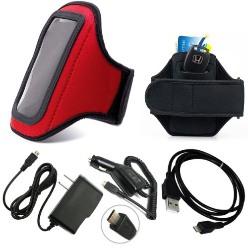 Red Slim Workout Neoprene Lightweight Armband with Extension, Adjustable From 11.5 Up To 20 inch, ID & Key Pocket For BlackBerry Z10 Smartphone + Includes a Rapid USB Travel Car Charger + Rapid USB Travel Home Wall Charger + Black Color USB Data Sync Cable for your device