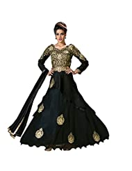 Fabfirki Black Banglori Silk Embroidered Anarkali Suit