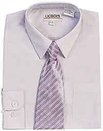 Gioberti Big Boy\'s Long Sleeve Dress Shirt + Stripe Clip Tie-16-Lilac