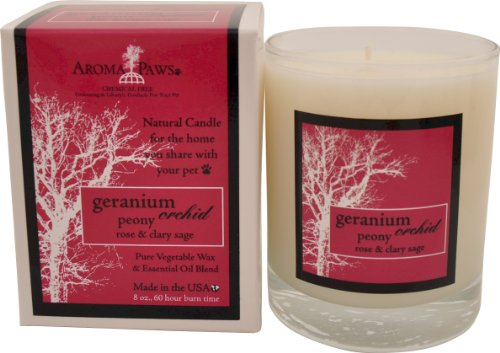 Aroma Paws Geranium Orchid Sage Candle in Gift Box