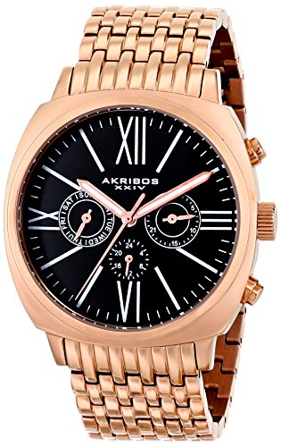 Akribos Xxiv Men'S Ak636Rg Rose-Gold-Tone Stainless Steel Bracelet Watch