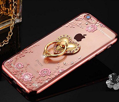 液晶保護フィルム付き かわいい heartハート iPhone7 plus ケース Finger Ring Bumper Case iPhone 7 plus落下防止リング付き キラキラ大人気 デコ iphone7 plusケース  かわいい アイフォン 7plus対応ケース カバーiphone 7 plusカバー 女性向け スタンド機能付き RKS845