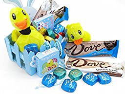 Dove, Easter Basket Gift, Blue Easter Basket Filled with Two Silky and Smooth 1.34 Oz Dove Chocolate Bars, One Cookies N Cream and One Milk Chocolate, Five Assorted Dove Promises, One Box of Easter Stickers and a Plush Easter Duck
