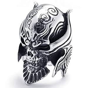 KONOV Jewelry Large Biker Men's Gothic Casted Skull Stainless Steel Ring, Black Silver from Pin Zhen