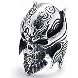 KONOV Jewelry Large Biker Men's Gothic Casted Skull Stainless Steel Ring, Black Silver