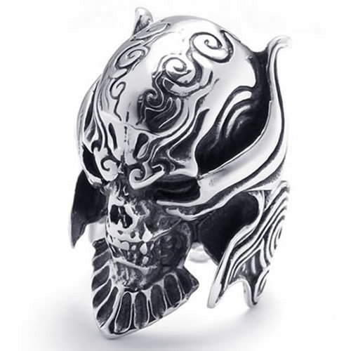 Size 11, Konov Jewelry Large Biker Men'S Gothic Casted Skull Stainless Steel Ring, Black Silver