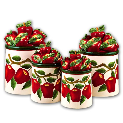 Purchase apple 3 d canisters set of 4 new canister for Apple kitchen decoration set