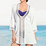 XARA la moda de las mujeres de algodón de manga larga sólido kintwear hueco crochet bikini swimwer playa cubre encima de la camisa , Green