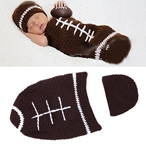 Ownmagi Crochet Photography Sweater Newborn Cap Football Suits Baby Sleeping Bag (Baby Girl Football Outfit compare prices)