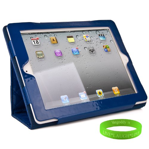 Blue Padded iPad Skin Cover Case Stand with Screen Flap and Sleep Function for all Models of The New Apple iPad ( 3rd Generation, wifi , + AT&T 4G , 16 GB , 32GB , 64 GB, MC707LL/A , MD328LL/A , MC705LL/A , MC706LL/A , MD329LL/A , MD368LL/A , MC756LL/A , MC744LL/A ect.. ) + Live * Laugh * Love Vangoddy Trademarked Wrist Band!!!