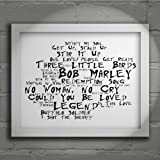 `Noir Paranoiac` Art Print - BOB MARLEY AND THE WAILERS - Legend - Signed & Numbered Limited Edition Typography Wall Art Print - Song Lyrics Mini Poster