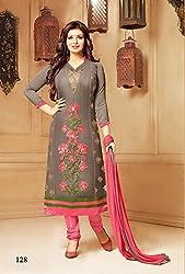 Shree Khodal Women's Grey Cotton Dress Material [SK_JCN1005]