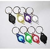 TigerTech 8-pack Mini LED Keychain Micro Light - Black, Black, Blue, Pink, Green, Yellow, White, Purple - White Beam