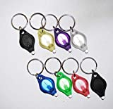 TigerTech 8-pack Mini LED Keychain Micro Light - Black, Black, Blue, Pink, Green, Yellow, White, Purple - White Beam