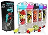 Live Infinitely 32 oz. Infuser Water Bottles - Featuring First Ever Gel Freezer Ball Infusion Rod, Flip Top Lid, Larger Dual Hand Grips & Recipe Ebook Gift (Teal)
