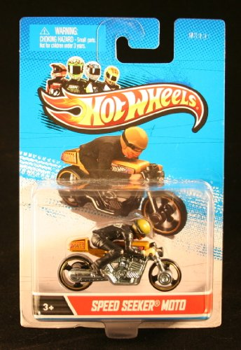 SPEED SEEKER MOTO (Gold & Chrome) * MOTORCYCLE & RIDER * Hot Wheels 1:64 Scale 2012 Die-Cast Vehicle