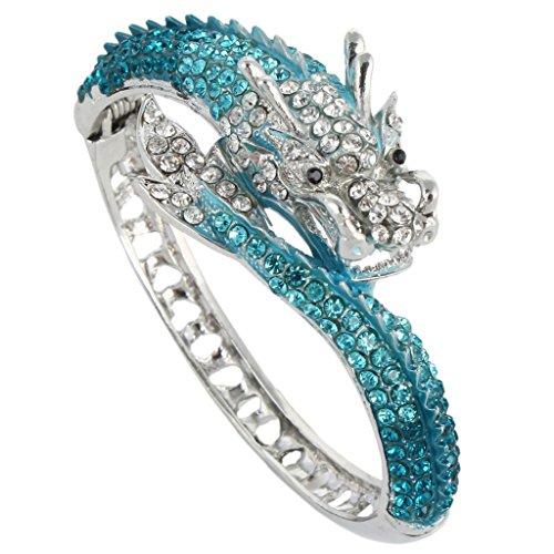 Silver-Tone Fly Dragon Bracelet Austrian Crystal Blue