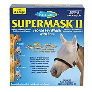 Farnam SuperMask II Horse Fly Mask with Ears Shimmer Weave Mesh, Silver/Black Trim, X-Lrg