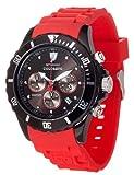Detomaso COLORATO CHRONO Black/Red DT2019-B - Reloj cronógrafo de cuarzo unisex, correa de silicona color rojo (cronómetro)