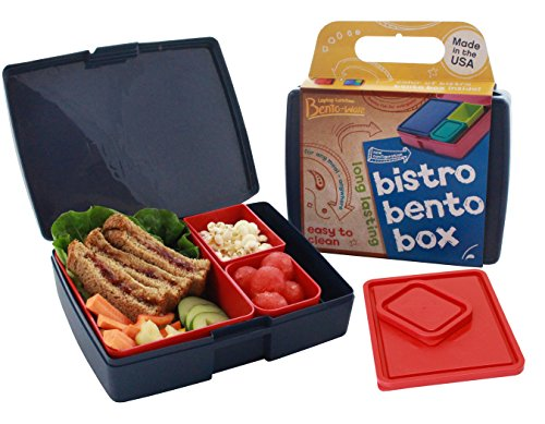 Bento Lunch Box - Made In The Usa - Bistro Style In Americana Colors With Larger 3-Compartment Framework