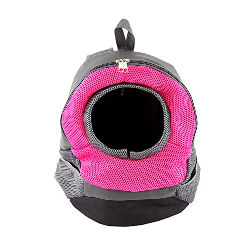 ColorPet Dog Cat Pet Carrier Portable Outdoor Travel Backpack (Rose Red)