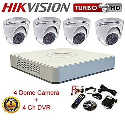 Hikvision DS-7104HGHI-SH Turbo HD DVR + (DS-2CE56C2T-IRB) 4 Dome Cameras
