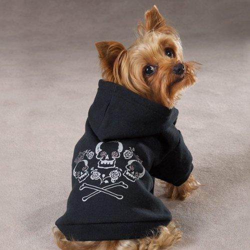 Small Black Sweatshirt Crowned Crossbone Dog Hoodie [Misc.]