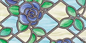 Fablon Stained Decorative Frosted Window Glass Vinyl Film (1.5m x 67.5cm) Rose Blue