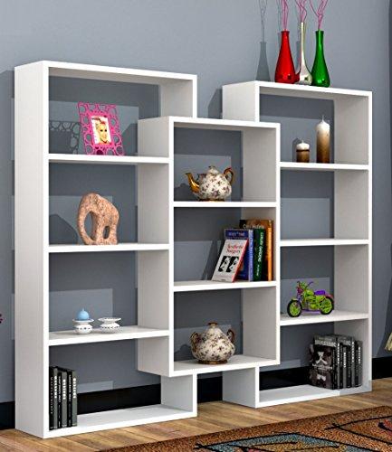 SPARK Libreria - Bianco - Scaffale per libri - Scaffale per ufficio / soggiorno dal design moderno