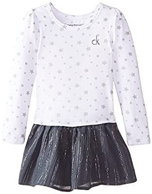 Calvin Klein Little Girls' Dress with Printed Top and Solid Skirt