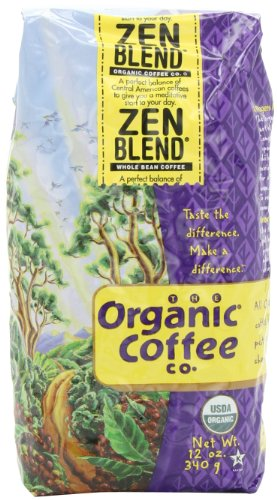The Organic Coffee Company, Zen Blend Whole Bean Coffee, 12-Ounce Packages (Pack of 2)