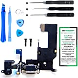 iPhone 5 Charge Port Dock, and Headphone Jack Flex Cable (Black) Replacement Kit with DM Tools and Instructions Included - DIYMOBILITY