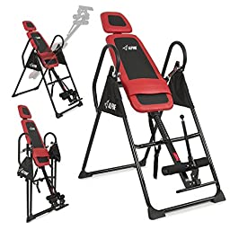 Akonza Fitness Pro Deluxe Inversion Table Chiropractic Exercise Back Reflexology, Red
