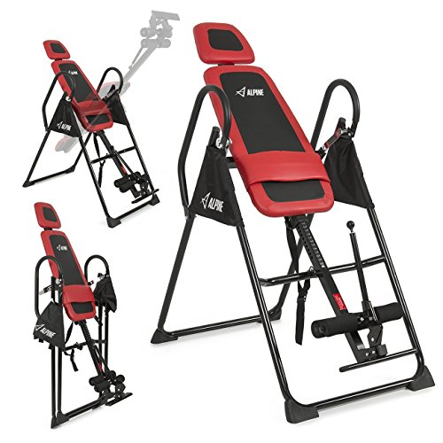 ALPINE© Fitness Pro Deluxe Inversion Table Chiropractic Exercise Back Reflexology, Red