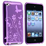 eForCity TPU Rubber Skin Case compatible with Apple� iPod touch� 4th Generation, Clear Dark Purple Flower w/ Butterfly