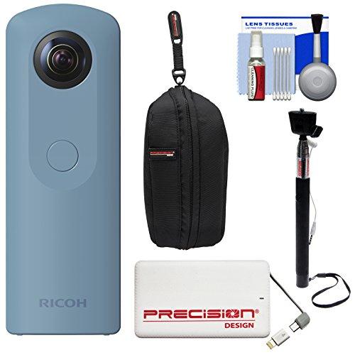Ricoh Theta SC 360-Degree Spherical Digital Camera (Blue) with 5000mAh Power Bank + Case + Selfie Stick + Kit
