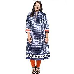 Love More Blue Printed Anarkali Cotton Kurti