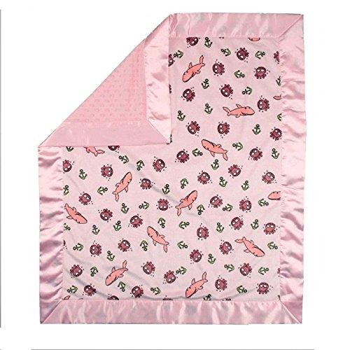 "My Blankee Sharkies Minky Pink w/ Minky Dot Pink Baby Blanket, 30"" x 35"""