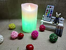 【3 AAA Batteries Included,Timer】LAPROBING® Remote Control Flickering Flameless Candles Timer Battery Operated Real Wax Pillars Candles with 12 LED Color Settings (Ivory Color, 3\
