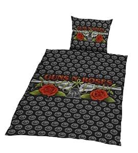Global Labels G 75 600 GNR1 100 - Juego de funda nórdica y funda de almohada con logo de Guns N'Roses (135 x 200 y 80 x 80 cm), color negro y gris