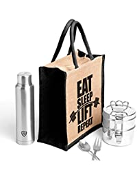 Eat Sleep Black.Printed Jute Bag,specially Design To Carry Lunch (Lunch Bag,Medium Size, Height:11in, Lenght:...
