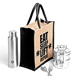 Eat sleep black.Printed jute bag,specially design to carry lunch (Lunch bag,Medium Size, Height:11in, Lenght: 9in, Width:6in)