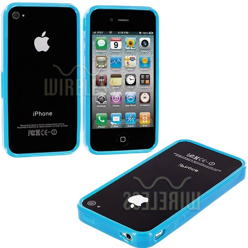 Mylife Electric Blue Slim Bumper (Metal Buttons - 360 Degree Side Protector) Gel Flex Case For The Iphone 4/4S (4G) 4Th Generation Touch Phone (Soft Silicone Bumper Frame + Rubberized All Around Shock Absorbing Armor Skin) front-345955
