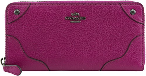 Coach Grain Leather Mickie Accordion Zip Around Wallet 52645 Cranberry